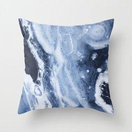 Marble Ice Indigo Throw Pillow