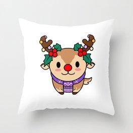 Christmas Rudolph T Shirt Throw Pillow