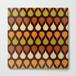 60s, 70s, Vintage geometric patterns, Brown drops, yellow drops Metal Print
