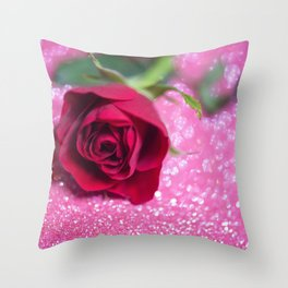 Rose over pink abstract background with bokeh defocused lights Throw Pillow
