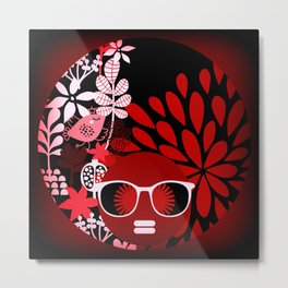 Afro Diva : Sophisticated Lady Red Metal Print