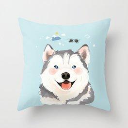 Siberian Husky Pet Dog Illustration Portrait Throw Pillow