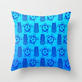 Blue Honu And Tiki Mask Throw Pillow