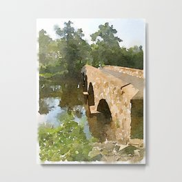 Watercolor - Brugler Rd Bridge Metal Print