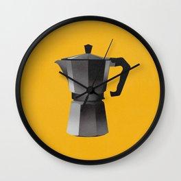 Classic Bialetti Coffee Maker Yellow Wall Clock