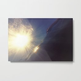 Underwater Sunset, Underwater Sea Surface with Sunny Beams and Waves. Metal Print