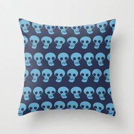 We are all skull - Funny Skull Illustration Pattern Blue Background Throw Pillow