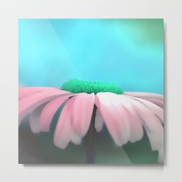 Daisy in pink & blue Metal Print