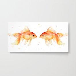 Goldfish Love Watercolor Fish Painting Metal Print