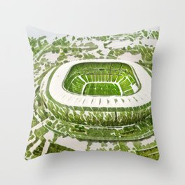South Africa Soccer City Artistic Illustration Nature Style Throw Pillow