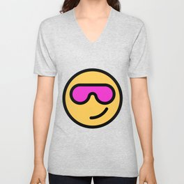 Smiley Face   Cool Sunglasses Happy Face   Cute Pink Glasses Unisex V-Neck