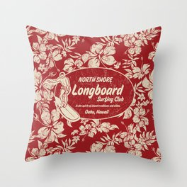 Club Surfing Longboard Surf Logo and Hibiscus Hawaiian Print      Throw Pillow