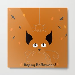 Halloween Holiday card with cat looking at hanging spider on a web Metal Print