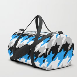 Neon Goth Houndstooth Pattern (Blue) Duffle Bag