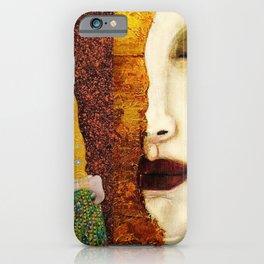 Gustav Klimt: The Kiss & Freya's Tears golden-red flower anemone college portrait painting iPhone Case