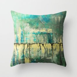 Abstract in Yellow and Green 2 Throw Pillow
