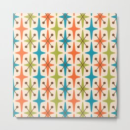 Mid Century Modern Abstract Star Pattern 441 Orange Brown Turquoise Chartreuse Metal Print