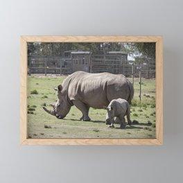 White Rhino and Calf Framed Mini Art Print