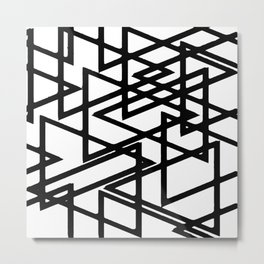 Interlocking Black Triangles Artistic Design Metal Print