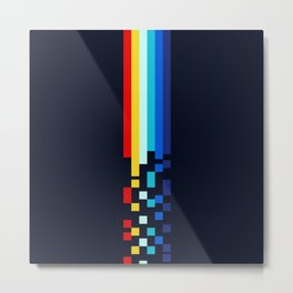 Classic 80s Video Game Retro Stripes Pixel Drops - Ayakazu Metal Print