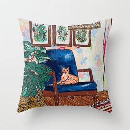 Ginger Cat on Blue Mid Century Chair Painting Throw Pillow
