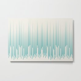 Aqua Teal Turquoise Solid Color Minimal Frequency Line Art Pattern on Alabaster Off White - Aquarium SW 6767 Metal Print
