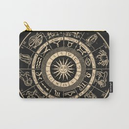 Vintage Zodiac & Astrology Chart | Charcoal & Gold Carry-All Pouch