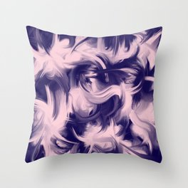 Modern Artsy Blush Pink Girly Blue Abstract Brushtrokes Throw Pillow