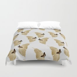 Butterfly & Palm Leaf, Gold Wall Art Duvet Cover