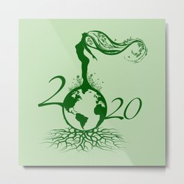 Mother Earth 2020 - Green Metal Print