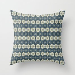 Blue Floral Japanese Pattern Throw Pillow