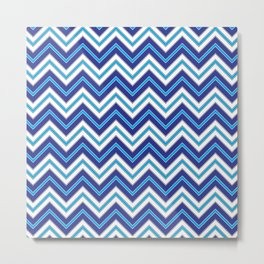Chevron Pattern | Zig Zags | Blue, Black and White | Metal Print