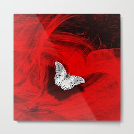 Silver butterfly emerging from the red depths Metal Print