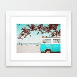 Retro Camper Van With Surf Board Framed Art Print