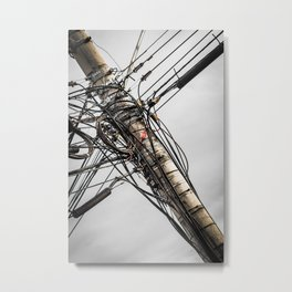 Wires on utility pole Metal Print