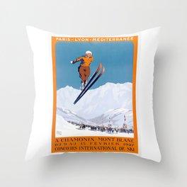 1927 Chamonix - Mont Blanc France Ski Championship Poster Throw Pillow