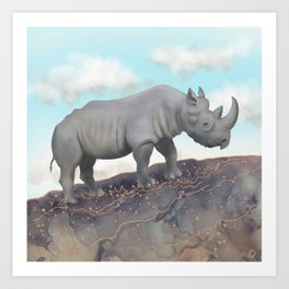 Black Rhino - African Safari Wildlife  Art Print
