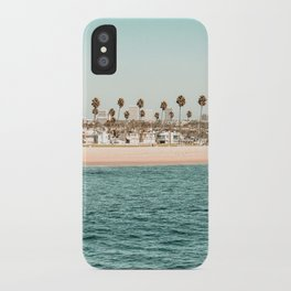 Vintage Newport Beach Print {1 of 4} | Photography Ocean Palm Trees Teal Tropical Summer Sky iPhone Case