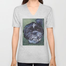 SHIH TZU dog art portrait from an original painting by L.A.Shepard Unisex V-Neck