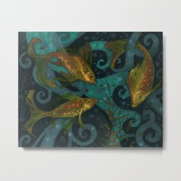 Golden Fish, Black Teal, Underwater Art Metal Print