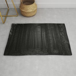 The Dense & Foggy Forest (Black and White) Rug