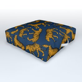 Tigers (Navy Blue and Marigold) Outdoor Floor Cushion