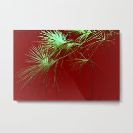 Pine tips -- green on red Metal Print