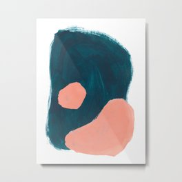 Minimalist Abstract Colorful Mid Century Modern Art Painting Teal Blue Salmon Pink Blobs Metal Print