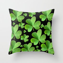 Clovers on Black Throw Pillow