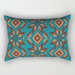 Modern colorful beaded boho aztec kilim pattern on teal Rectangular Pillow