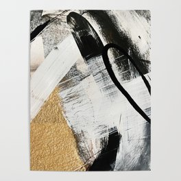 Armor [9]: a minimal abstract piece in black white and gold by Alyssa Hamilton Art Poster