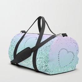 Sparkling MERMAID Girls Glitter Heart #1 #decor #art #society6 Duffle Bag