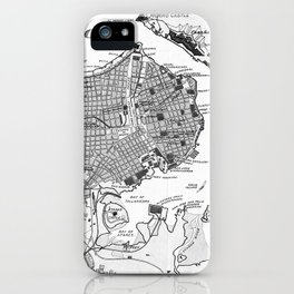 Vintage Map of Havana Cuba (1898) 2 BW iPhone Case