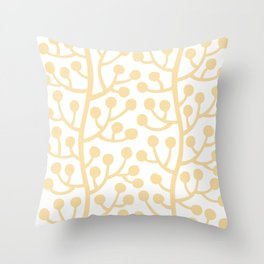 Beautiful Vine Pattern with Berries 733 Yellow Throw Pillow